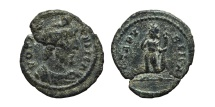 Ancient Coins - FESTIVAL OF ISIS. AE15. Mid 4th century. Rome mint? VOTA PUBLICA. Serapis and Harpocrates.