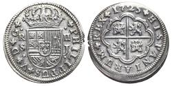 World Coins - PHILIPPUS V. AR, 2 Reales. 1725 Sevilla J mint. SPAIN.
