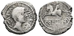 Ancient Coins - OCTAVIAN. Ar, Denarius. 41 BC. Military mint travelling with Octavian in Italy. POPVL•IVSSV Galloping equestrian statue left. VERY RARE.