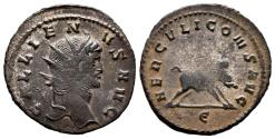 Ancient Coins - GALLIENUS. Ae, Antoninianus. AD 267-268. Rome. HERCVLI CONS AVG, boar running to right; E in exergue.