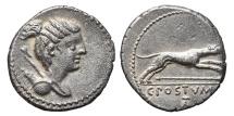C. POSTUMIUS AT. Ag, Denarius. 74 BC. Rome. Hound running right.