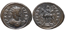 PROBUS. Æ, Antoninianus. 279 Ad. - Rome mint. ADVENTVS AVG. R-thunderbolt-Z.