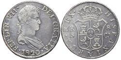 World Coins - FERNANDO VII. AR, 8 Reales. 1820. Sevilla C.J. SPAIN.