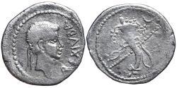 Ancient Coins - JUBA II. AR, Denarius. 25 BC-24 AD. Caesarea mint. Cornucopia; transverse scepter in background, crescent to upper right. MAURETANIA