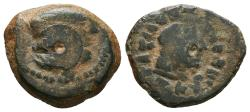 Ancient Coins - PTOLEMY V EPIPHANES. AE19. After 204 BC. Kyrene. Draped bust of Libya right, wearing tainia; cornucopiae below chin.