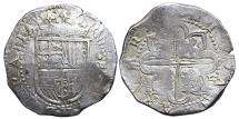 World Coins - PHILIPPVS II. 8 Reales. (1556-1598). Sevilla S mint and D square in the second quadrant. SPAIN.