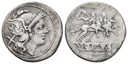 Ancient Coins - ANONYMOUS. AR, Denarius (4,2g - 21mm. Big size). 179-170 BC. Rome mint. The Dioscuri on horseback to right. ROMAN REPUBLIC.