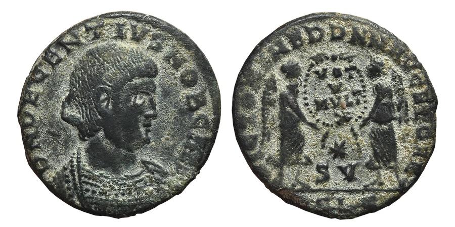 Ancient Coins - DECENTIUS. Æ, Maiorina. 350-353 AD. Lugdunum (Lyon) mint, RSLG. VICTORIAE DD NN AVG ET CAE.