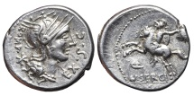 M. SERGIUS SILUS. AG, Denarius. 116-115 BC. Rome mint. Horseman galloping with severed head.