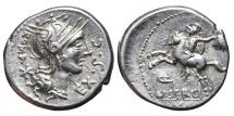 Ancient Coins - M. SERGIUS SILUS. AG, Denarius. 116-115 BC. Rome mint. Horseman galloping with severed head.