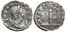 Ancient Coins - SALONINA. Antoninianus. 258-259 AD.  Colonia Agrippinensis mint. Segetia in tetrastyle temple, DEAE SEGETIAE