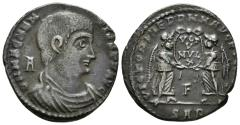 Ancient Coins - MAGNENTIUS. Æ, Centenionalis. 351-352 AD. Arelate mint. SAR. Two Victories. VICTORIAE DD NN AVG ET CAE.