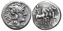 M. VARGUNTEIUS. AG, Denarius. 130 BC. Rome mint. Jupiter in quadriga.