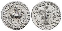 Ancient Coins - AZES II. AR, Tetradrachm. 35-5 BC. Uncertain mint in Western Gandhara. Athena & Azes on horseback. INDO-GREEK KINGDOM.