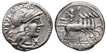 Ancient Coins - L. ANTESTIUS GRAGULUS. AG, Denarius. 136 BC. Rome mint. Jupiter in quadriga.