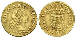 Ancient Coins - FERNANDO VI. Gold, 1/2 Escudo. 1757. Madrid J.B. mint. SPAIN.