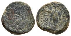Ancient Coins - LIXUS. Mauretania. Quarter Unit. Circa 50-1 BC. Head of Chusor-Ptah / bunch of grapes on vine. SCARCE.