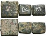 Ancient Coins - LOT 3 BYZANTINE WEIGHTS. Uncertain ruler, late 5th-6th century. 1/2 Ounkia, 3 Nomismata & 1 Ounkia.