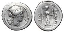 Ancient Coins - P. CLODIUS M.F. TURRINUS. AR, Denarius. 42 BC. Rome mint. Diana with torches.