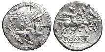 Ancient Coins - ANONYMOUS. AR, Denarius. 179-170 BC. Rome mint. The Dioscuri on horseback to right. ROMAN REPUBLIC.