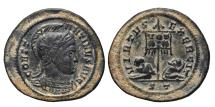 Ancient Coins - CONSTANTINE I. Follis. 319-320 AD Ticinum mint. (ST) EXTRA LARGE COSPEL. VERY RARE.
