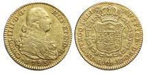 World Coins - CARLOS IV. Gold, 2 Escudos. 1793. Madrid mint M.F. Cal-326. SPAIN