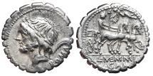 Ancient Coins - L. MEMMIUS GALERIUS. AR, Denarius. 106 BC. Rome mint. L·MEMMI / GAL - N, Venus in biga right, holding sceptre and reins.