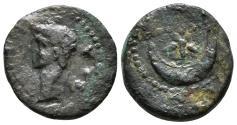 Ancient Coins - PTOLEMY. MAURETANIA. Æ, Quarter Unit. 24-40 AD . Caesarea mint. Star/Crescent. RARE.