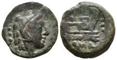 Ancient Coins - ROMAN REPUBLIC. Anonymous, Æ Quadrans. 135-125 BC. Rome. Crawford 56.5.