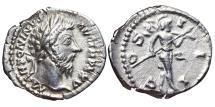 Ancient Coins - MARCUS AURELIUS. AR, Denarius. 161-180 AD. Rome mint. MARS advancing right, COS III.
