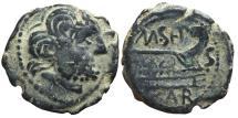 Ancient Coins - REPUBLICAN AE, Semis . CARTEIA 100-43 BC. San Roque mint. (Cadiz-Spain). Saturn / Prow of galley.