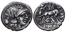 Ancient Coins - SEX. POMPEIUS FUSTULUS. AR, Denarius. 137 BC. Italy mint. She-wolf wit Romulus And Remus. SEX PO FOSTLVS.