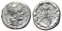 Ancient Coins - Q. FABIUS MAXIMUS EBURNUS. AG, Denarius. 127 BC. Rome mint. Cornucopiae - thunderbolt.