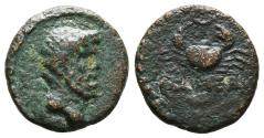 Ancient Coins - SYRIA, Gabala. AE15. Autonomous issue, circa 1st century BC. Crab, crescent above, ΓABAΛEΩN below. VERY RARE