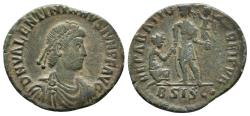 Ancient Coins - VALENTINIANUS II. Æ, Maiorina. 378-83 AD. Siscia mint BSISC. REPARATIO REI PVB. Scarce.