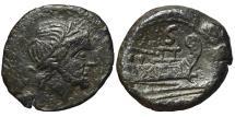 Ancient Coins - ROMAN REPUBLIC, Anonymous. AE, Semis heavy. 211 - 210 BC. Rome mint. Ex. ANP.