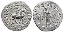Ancient Coins - AZES I. AR, Tetradrachm. 58-19 BC. Uncertain mint in Western Gandhara. Zeus & Azes on horseback. INDO-GREEK KINGDOM.