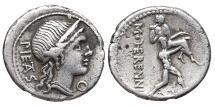 Ancient Coins - MARCUS HERENNIUS. AG, Denarius. 108-107 BC. Rome mint. Catanaean brothers.