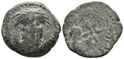 Ancient Coins - LIXUS. Mauretania. Ae, Unit. Circa 50-1 BC. Facing head of Baal-Melkart / Star between bunch of grapes and corn ear.