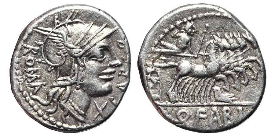 Ancient Coins - Q. FABIUS LABEO. AG, Denarius. 124 BC. Rome mint. JUPITER galloping quadriga.