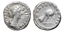 Ancient Coins - FAUSTINA II. AG, Denarius. 147-176 BC. Rome mint. CONSECRATIO Peacock.