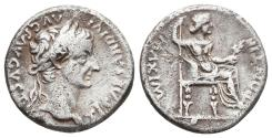 Ancient Coins - TIBERIUS. Ar, Denarius. 14-37 AD. Lugdunum Mint. (Tribute penny). PONTIF MAXIM, female figure seated right on chair with ornamented legs, holding branch and inverted spear.