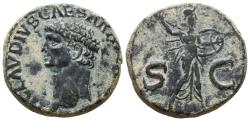 Ancient Coins - CLAUDIUS I. Æ, As. AD 50-54. Rome. Minerva, helmeted, draped, hurling javelin and holding round shield on left arm, advancing right; S-C across lower fields.