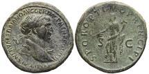 TRAJAN. Æ, Sestertius. 115-116 AD. Rome mint. SENATVS POPVLVSQVE ROMANVS. Felicitas .