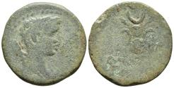 Ancient Coins - JUBA II with Kleopatra Selene. AE Unit. (Mauretania) Caesarea, circa AD 8-15. Headdress of Isis, BACIΛICCA across fields, KΛЄΟΠΑΤΡA in exergue.