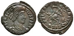 Ancient Coins - CONSTANTIUS II. AE, Follis. AD 51-355. Siscia mint ASISZ. FEL TEMP REPARATIO, helmeted soldier to left, shield on arm, spearing fallen enemy wearing a pointed cap.