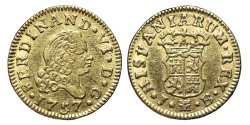 World Coins - FERNANDO VI. Gold, 1/2 Escudo. 1757. Madrid J.B. mint. SPAIN.