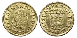 World Coins - FERNANDO VI. Gold, 1/2 Escudo. 1757. Madrid J.B. mint. SPAIN.