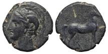 CARTHAGINIANS OCCUPATION. Ae, Calco. 220-215 BC. Carthago Nova. ATHENA & HORSE. Scarce