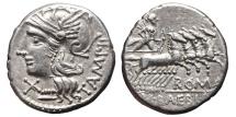 Ancient Coins - MARCIUS BAEBIUS TAMPILUS. AG, Denarius. 137 BC. Rome mint. APOLLO driving galloping quadriga.